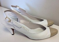 Evan Picone Leather Beige Toe Slingback Gold Side Buckled B2157 White Pumps