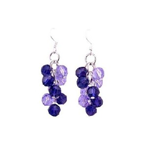 Violet & Purple Velvet Round Crystals Swarovski Bead Grape Bunch Earrings