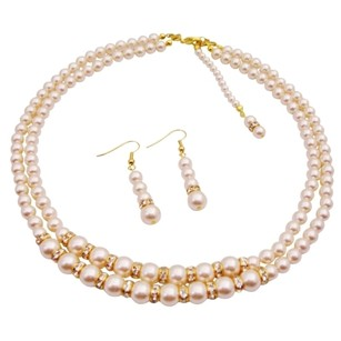 Fashion Jewelry For Everyone Back Drop Down Bridal Double Stranded Ivory Pearls Jewelry Set
