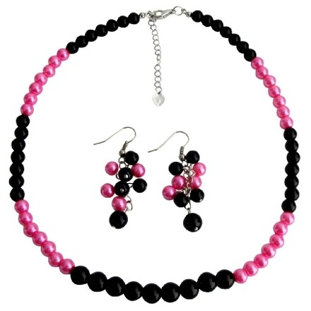 Fashion Jewelry For Everyone Black Fuchsia Cluster Earrings Necklace Fashionable Bright Wedding Jewelry