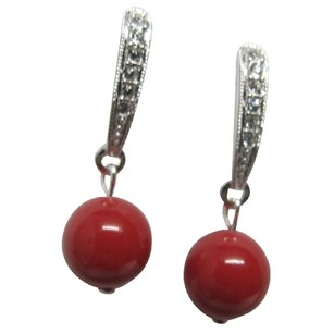 Fashion Jewelry For Everyone Bridal Party Wear Earrings Red Pearl Post Earrings