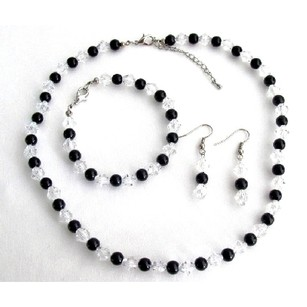 Affordable Bridesmaid Gift Black Pearls Clear Crystals Complete Jewelry Set