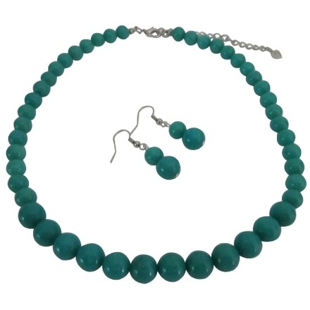 Green Turquoise Affordable Designer Round Beads Necklace Sets