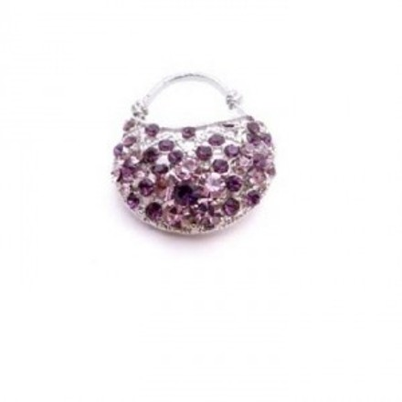 Silver Amethyst Purse Gift Sparkly Gift Brooch/Pin