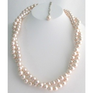 Baby Pink Wedding Necklace Twisted Double Strand Necklace