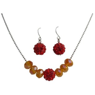 Orange Red Pave Ball Fire Opal Crystals Jewelry Set