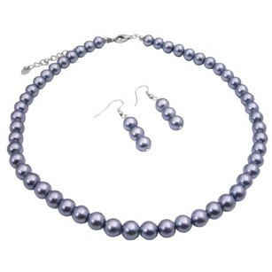 Gray Maid Of Honor Pearls Necklace Jewelry Set