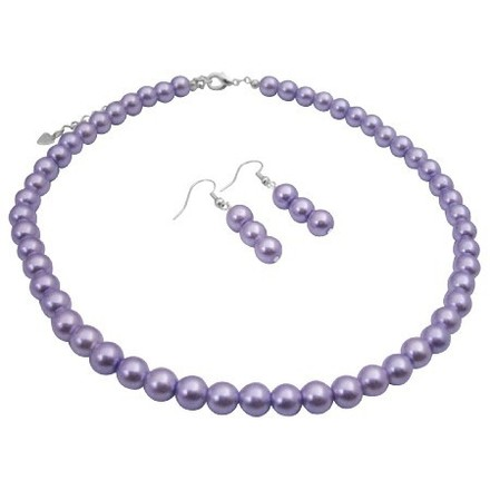 Bridal Bridesmaid Cheap Jewelry Set Victorian Lilac Wedding Pearls Set
