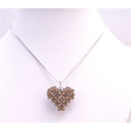 Brown 3d Puffy Heart Smoked Topaz Swarovski Crystals Pendant Necklace