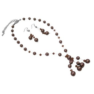 Brown Pearls Smoked Crystals Custom Bridal Jewelry Set W/ Drop Tassel