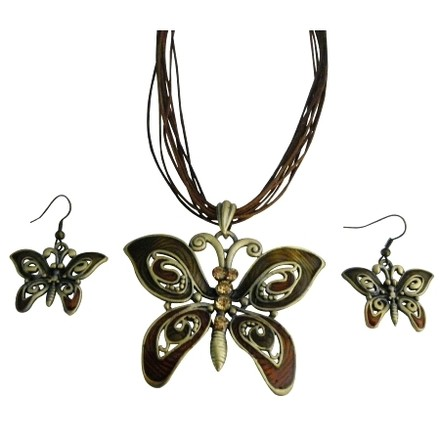 Light Brown Butterfly Lite Colorado Rhinestone Enameled Necklace Jewelry Set