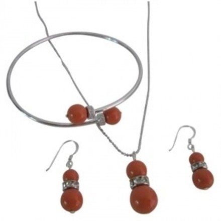 Coral Buy Fascinating Pearls Complete Necklace Jewelry Set