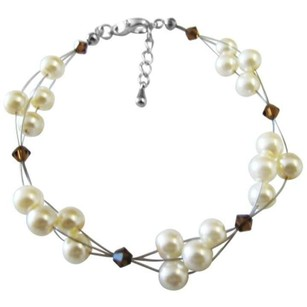Cheap Jewelry Bridesmaid Ivory Pearls Smoked Topaz Crystals