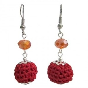 Christmas New Year Party Crochete Red W/ Orange Crystal Beads Earrings