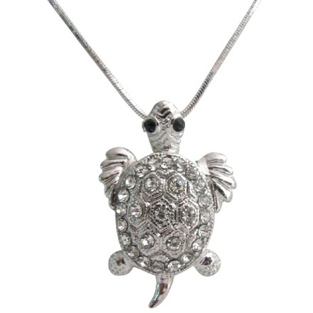 Silver Dazzling Sparkling Cute Turtle Pendant Mother's Gift Necklace