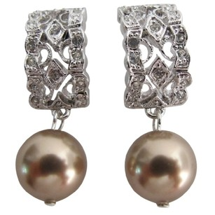 Elegant Bridal Jewelry Bronze Pearl Earrings