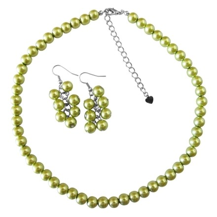 Green Are Exclusive Pearls Lite Olivine Pearl Jewelry Set
