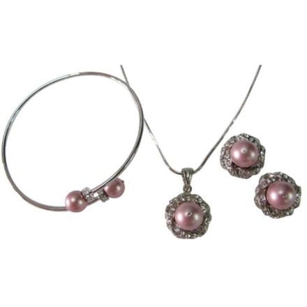 Rose Gift Your Wife Necklace Earring Braceletin Powder Pearls Jewelry Set