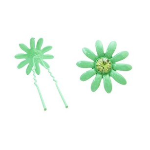 Girls Birthday Gift Green Hair Pin W/ Emerald Crystals Metal Hair Pin
