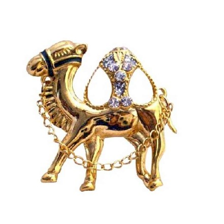 Gold Camel Hump Cubic Zircon Glass Beads with Chain Camel Brooch/Pin