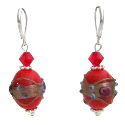 Red Handcrafted Artisan Lampwork Swarovski Crystals Earrings