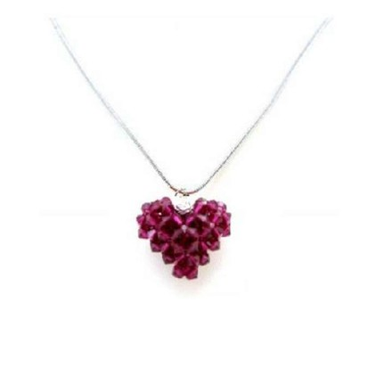 Ruby Handcrafted Swarovski Crystals 3d Puffy Heart Pendant Necklace