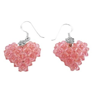 Pink Rose Hollywood Style Swarovski Crystals Puffy 3d Heart Earrings