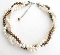 Inest White Freshwater Pearl Baroque Shape With Golden Pearl Necklace