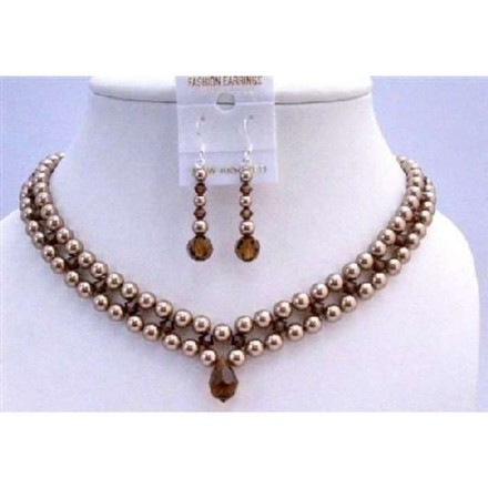 Bronze & Brown Interwoven 3 Stranded Neckalce Pearls Smoked Topaz Crystals Jewelry Set