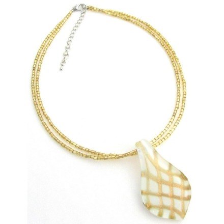 White Leaf Pendant Murano Pendant Seed Beads Necklace