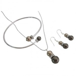 Low Cost Just Classy Bronze & Brown Pearls Jewelry Necklace Earrings