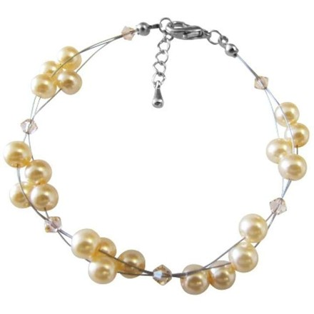 Make The Perfect Gift For A Friend Peach Crystals Pearls Bracelet