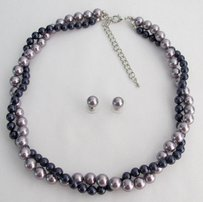 Mauve And Purple Twisted Necklace In Swarovski Pearls With Stud Earrings Class Collection