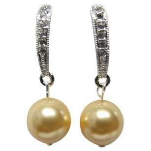 Yellow/Gold Modern Styling Pearl Gifts Holiday Earrings