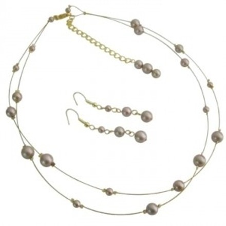 Party Wear Elegant Sophisticate Champagne Pearls Bridal Jewelry Set