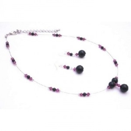 Pretty Wonderful Spectacular Jewelry Black Pearls Fuschia Crystals Set
