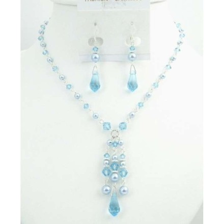 Blue Prom Pearls Aquamarine Crystals Jewelry Set