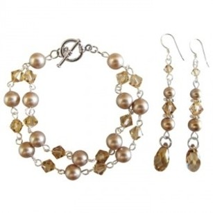 Prom Jewelry Wedding Flower Girl Champagne Pearls Bracelet Earring Set