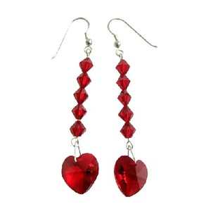 Red Crystal Heart Earring Swarovski Crystal Red Heart & Crystal Bead Sterling Silver 92.5 Hook Earrings