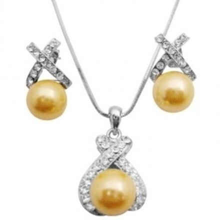 Shell Pearls Pendant In Beautiful Yellow Pearls Pendant & Earrings Set