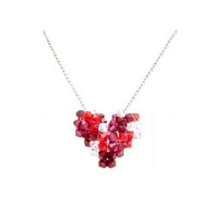 Red/Ab Shop Heart Siam Crystals Party Wear Necklace