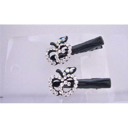 Black Silver Simulated Diamond Apple Clamps Clip Sleek Sparkling Clamps Hair Accessory