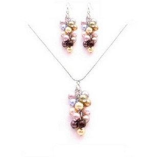 Sparkle Shine Beautiful Prom Jewelry Swarovski Multicolored Pearls Set