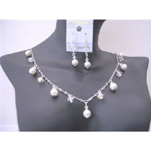 Sparkling Jewelry Ab Swarovski Crystals White Pearls Bridal Jewelry
