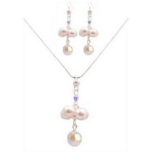 Special Designs For Bridesmaids Jewelry Ab Crystals & White Pearls Set