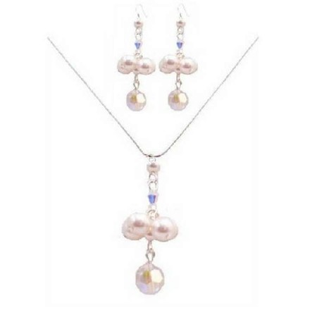White /Ab Special Designs Bridesmaids Crystals Pearls Jewelry Set