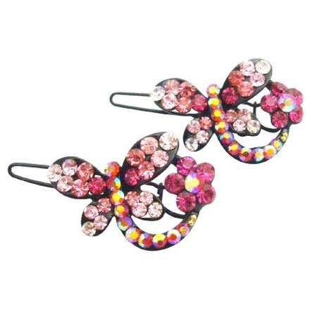 Pink Stylish Cute Butterfly Clip In Fuchsia Rose Clear Crystals Hair Accessory