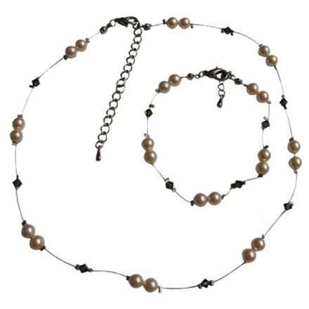 Stylish Jewelry For Flower Girls Ivory Pearls & Smoky Quartz Swarovski