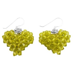 Olivine Green Swarovski Crystals Handwoven 3d Puffy Heart Earrings