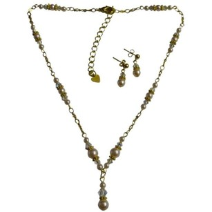Trendy Fabulous Gold Chained Necklace Set Swarovski Pearls Crystals